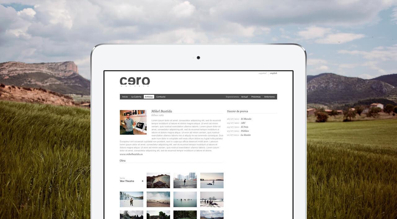 Pantallazo en iPad de galeriacero.es
